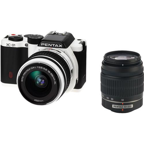 Pentax K-01 Digital Camera With 18-55mm & 50-200mm Lenses (White)