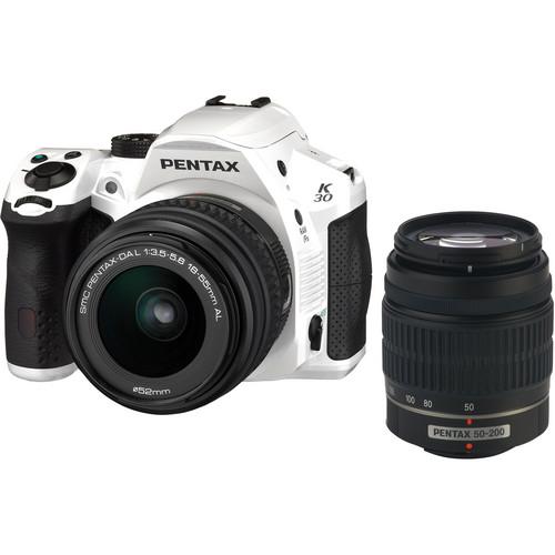 Pentax K-30 DSLR Camera with 18-55mm AL and 50-200mm AL Lens Kit - Crystal White
