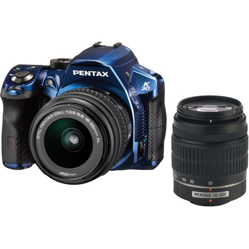 Pentax K-30 DSLR Camera with 18-55mm AL and 50-200mm AL Lens Kit - Crystal Blue