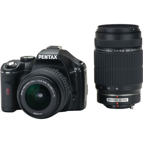 Pentax K-x Digital SLR with 18-55mm and 55-300mm Zoom Lenses (Black)