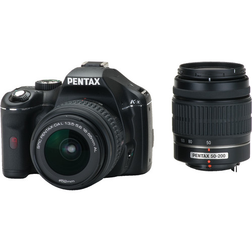 Pentax K-x Digital SLR with 18-55mm and 50-200mm Zoom Lenses (Black)