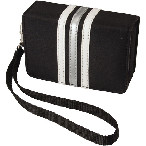 Pentax Fashion Wrist Case (Black with White Stripes)