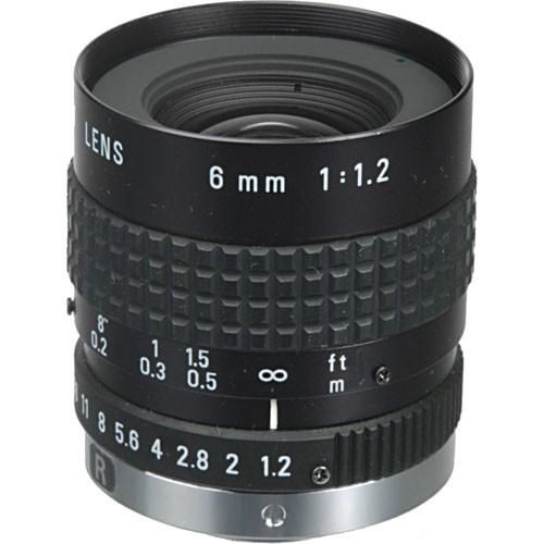 """Pentax C60607KP 1/2"""" C Mount 6mm f/1.2 Manual Iris Lens"""