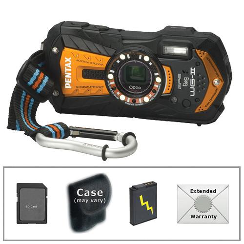 Pentax Optio WG-2 Digital Camera with GPS Deluxe Accessory Kit (Orange)
