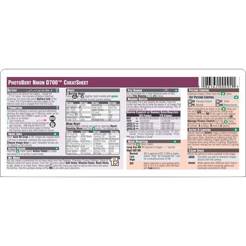 PhotoBert Cheat Sheet for Nikon D700 Digital SLR Camera