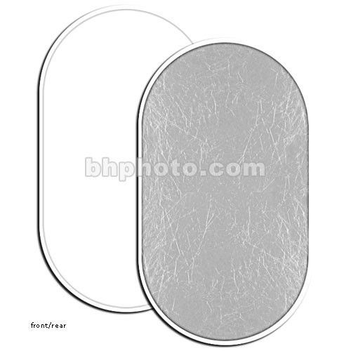 "Photoflex LiteDisc Oval Reflector, White Opaque/Silver, 41 x 74"" (104 x 188cm)"
