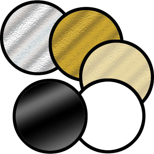 """Photogenic Chameleon Collapsible Reflector 5-in-1 - 22"""" Circular - Black, Silver, White, Gold and Translucent"""