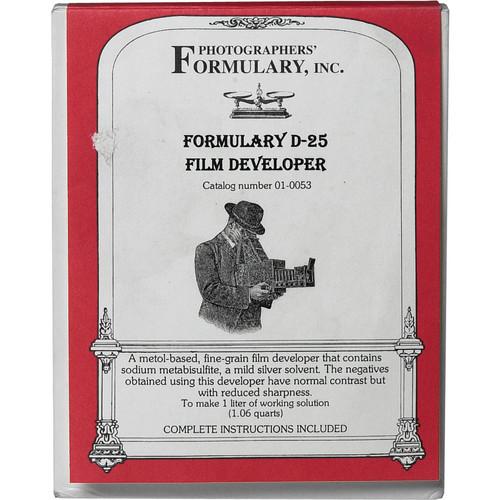 Photographers' Formulary D-25 Developer for Black & White Film - Makes 1 Liter