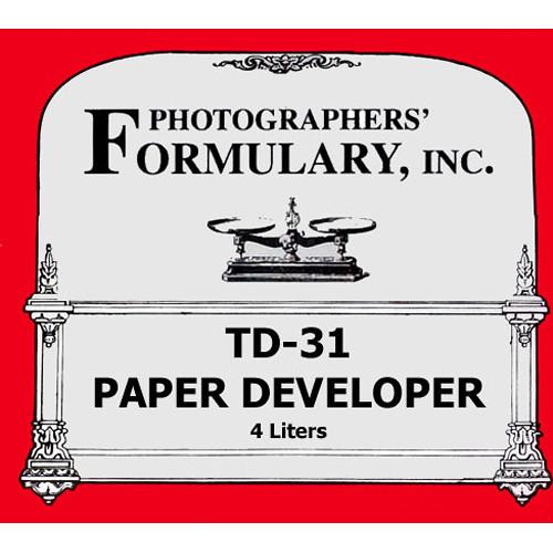 Photographers' Formulary TD-31 Developer for Black & White Paper - Makes 4 Liters