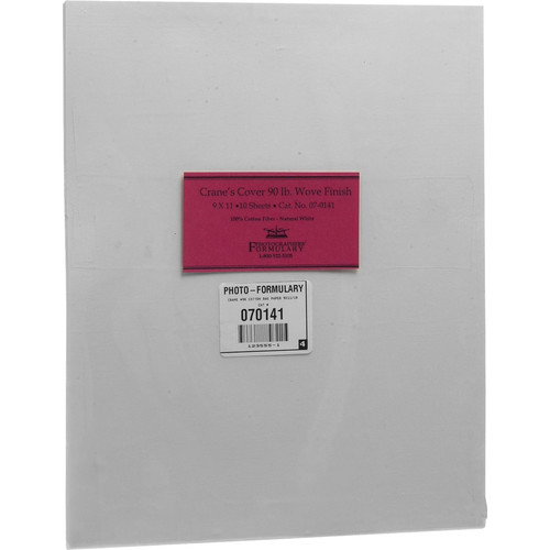 "Photographers' Formulary Crane's Cover 90 lb Wove Finish Alternative Printing Paper (9 x 11"", 10-Pack)"