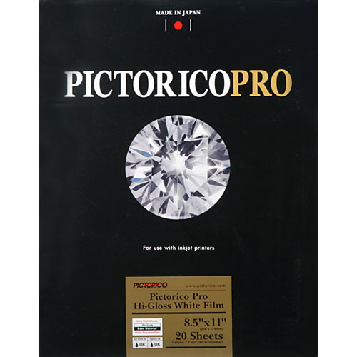 "Pictorico Pictorico Pro Hi-Gloss White Film for Inkjet Printing (8.5 x 11"", Letter)"