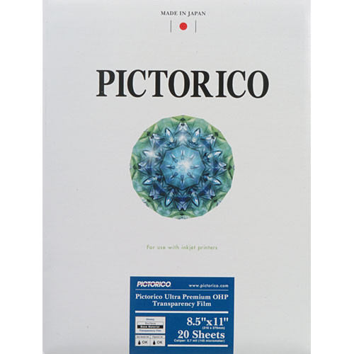 """Pictorico Pro Ultra Premium OHP Transparency Film - Letter (8.5 x 11"""", 20 Sheets)"""