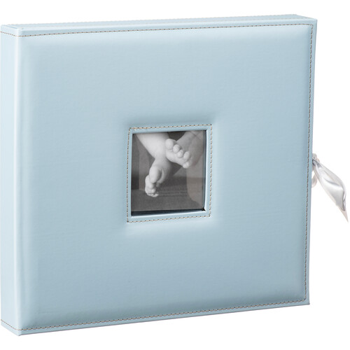 Pioneer Photo Albums SBX-12 Sewn Leatherette 3-Ring Frame Scrapbook Box with Ribbon Closure (Baby Blue)