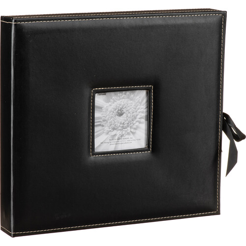 Pioneer Photo Albums SBX-12 Sewn Leatherette 3-Ring Frame Scrapbook Box with Ribbon Closure (Black)