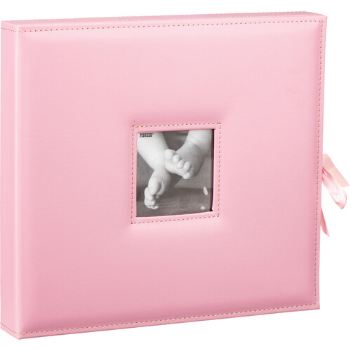 Pioneer Photo Albums SBX-12 Sewn Leatherette 3-Ring Frame Scrapbook Box with Ribbon Closure (Baby Pink)