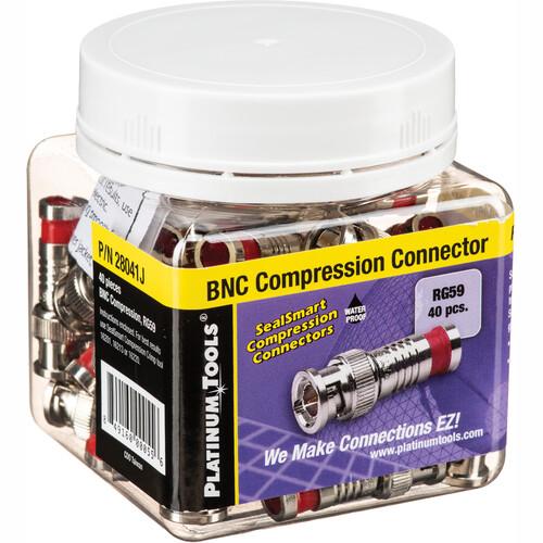 Platinum Tools SealSmart Coax Compression BNC Connector for RG-59 Cable (Jar of 40)