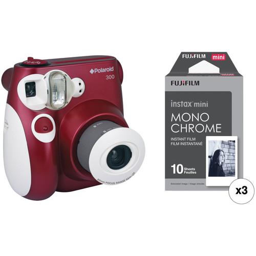 Polaroid 300 Instant Film Camera with Instant Film Kit (Red)