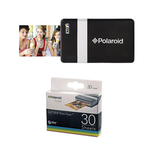 Polaroid CZA-10011 POGO Instant Mobile Printer (Black/Silver) with Paper Kit