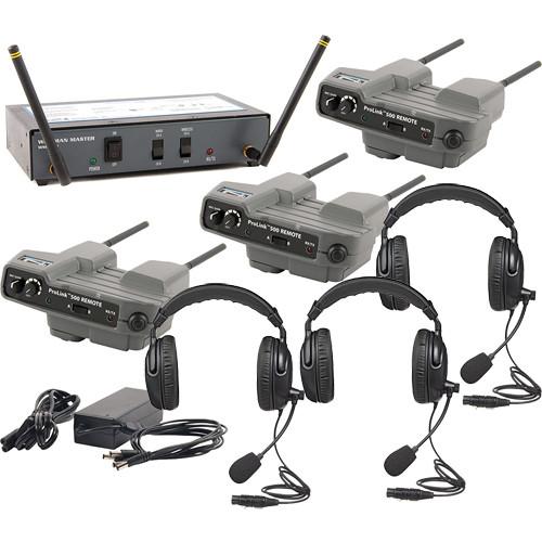PortaCom 3-User WingMAN Intercom System Kit with Dual-Ear Headsets
