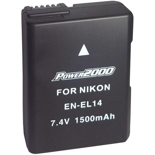 Power2000 EN-EL14 Lithium-Ion Battery for Nikon Digital Cameras (7.4V, 1500mAh)