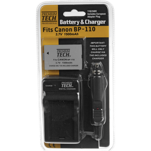 Power2000 Battery & Charger - Fits Canon BP-110 Battery