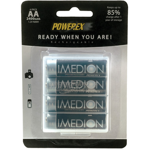 """Powerex MHRAAI4 IMEDION """"Ready When You Are!"""" Rechargeable AA NiMH Batteries (1.2V, 2400mAh, 4-pack)"""