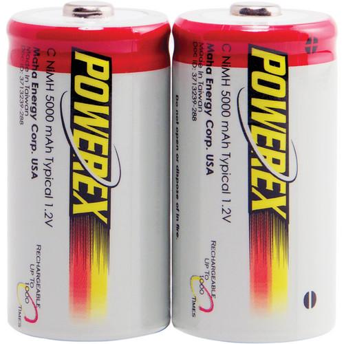 Powerex NiMH Rechargeable C Batteries (1.2V, 5000mAh) - 2-Pack