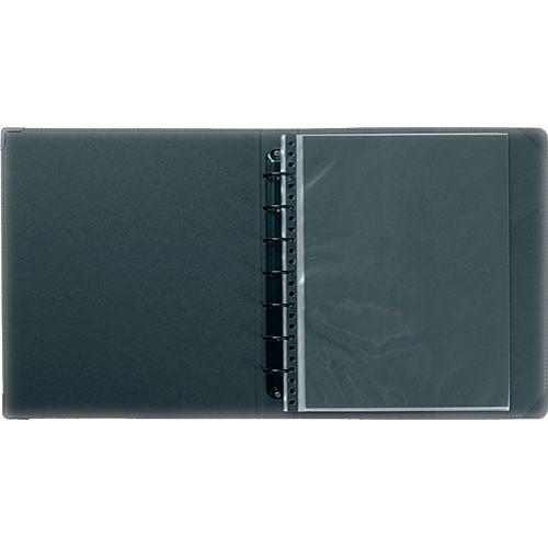 "Prat Classic Ring Binder - 9.5 x 12.5"" - Black - Ten Sheet Protectors"