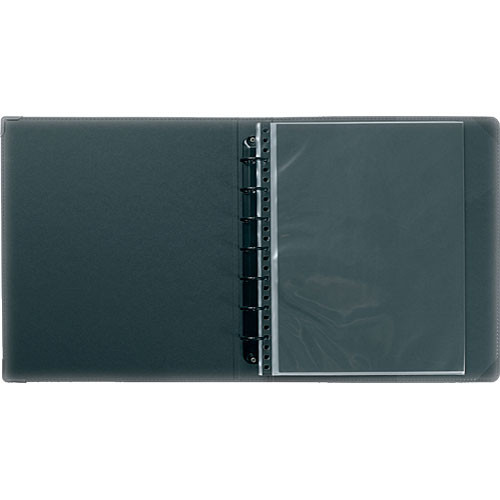 "Prat Classic Ring Binder - 9.5 x 12.5"" - Black - Ten Sheet Protectors"