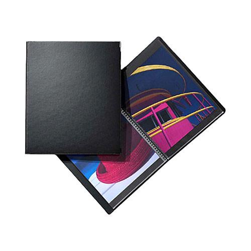 """Prat Classic Spiral Book - 11 x 14"""" - Black - 20 Sheet Protectors"""