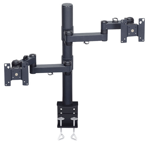 "Premier Mounts MM-AC282 2 Single Display Articulating Arms on 28"" Pole (Clamp Base)"