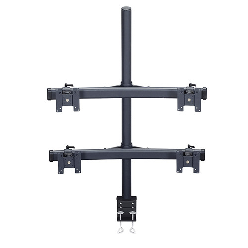 """Premier Mounts MM-BC284 2 Dual Monitor Curved Bows on 28"""" Pole with Clamp Base"""