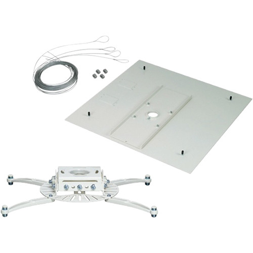 Premier Mounts PDS Universal Projector Mount with False Ceiling Adapter and Quick Lock Cable (White)