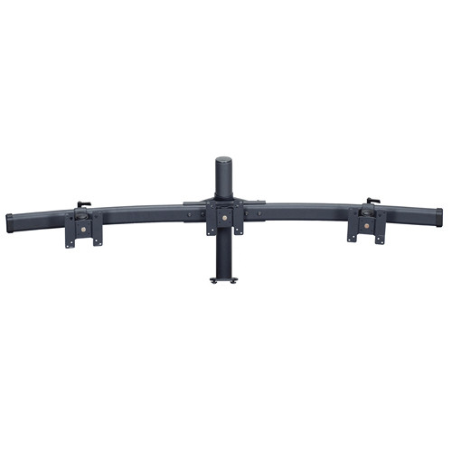 """Premier Mounts MM-BE153 Triple Monitor Curved Bows on 15"""" Pole with Extrusion Base"""