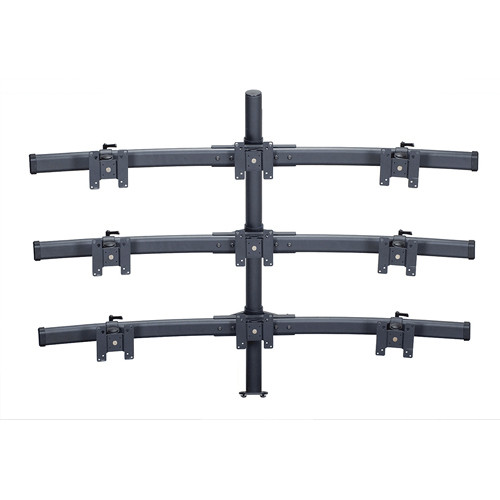 "Premier Mounts MM-BE429 3 Triple Monitor Curved Bows on 42"" Pole with Extrusion Base"