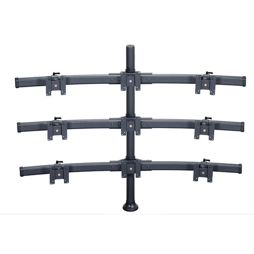 "Premier Mounts MM-BH429 3 Triple Monitor Curved Bows on 42"" Pole with Grommet Base"