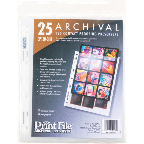 Print File Archival Storage Page for Contact Proofing Print & Negatives, 6x6cm (120), 3-Strips of 4-Frames, Vertical, (Hanger or Binder) - 25 Pack