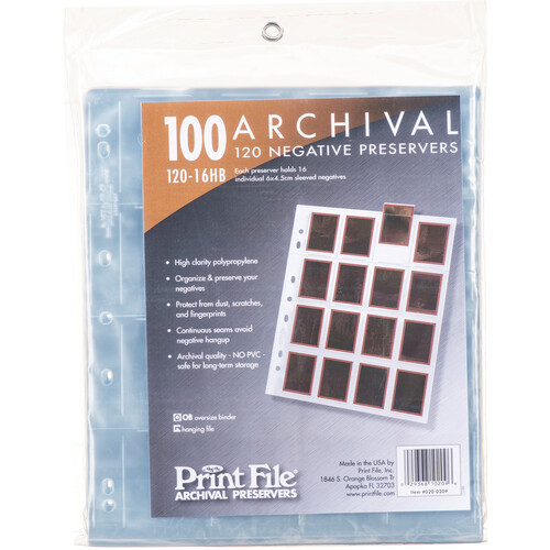 Print File Archival Storage Page for Negatives, 120 (6x4.5cm) - Holds Sixteen Individual 6x4.5cm Sleeved Negatives - 100 Pack