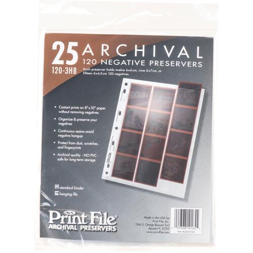 Print File Archival Storage Page for Negatives, 6x6cm (120), 3-Strips of 4-Frames, Vertical, (Hanger or Binder) - 25 Pack
