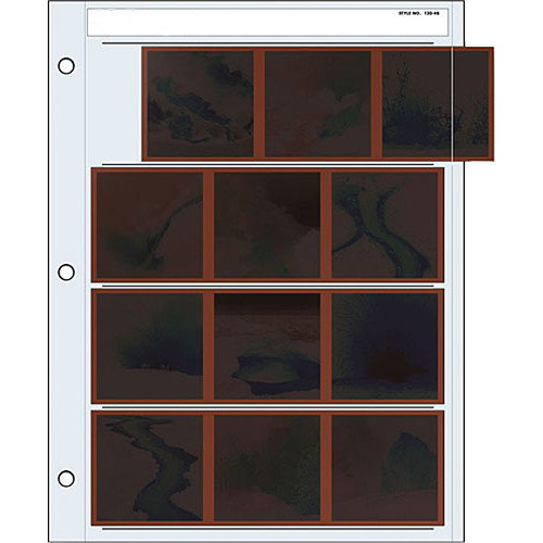 Print File Archival Storage Page for Negatives, 6x6cm (120), 4-Strips of 3-Frames, Horizontal, (Binder Only) - 100 Pack