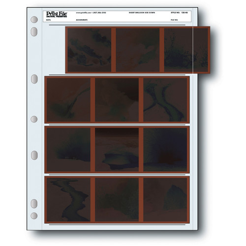 Print File Archival Storage Page for Negatives, 6x6cm (120), 4-Strips of 3-Frames, Horizontal, (Binder Only) - 25 Pack