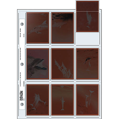 """Print File 120-9HB Archival Storage Page for 9 Negatives (2.6 x 3.6"""" Pockets, 25-Pack)"""