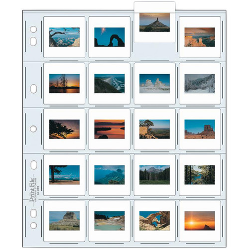 """Print File Archival Storage Page for Slides, 35mm (2x2""""), Holds 20 Slides, Top-Load, Extra Heavyweight (10-Mil), Clear Back (Hanger or Binder) - Pack of 25"""