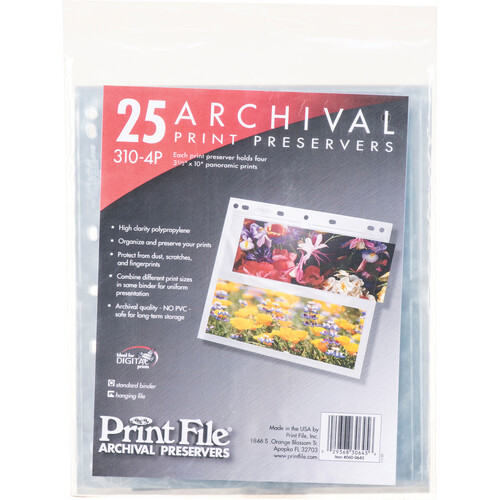 """Print File Archival Storage Page for Panoramic Prints - 3.5x10"""" - Holds 4 Prints - 25 Pack"""