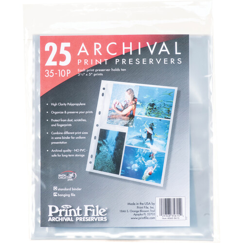 """Print File 35-10P Archival Storage Page (3.5 x 5"""", 25-Pack)"""