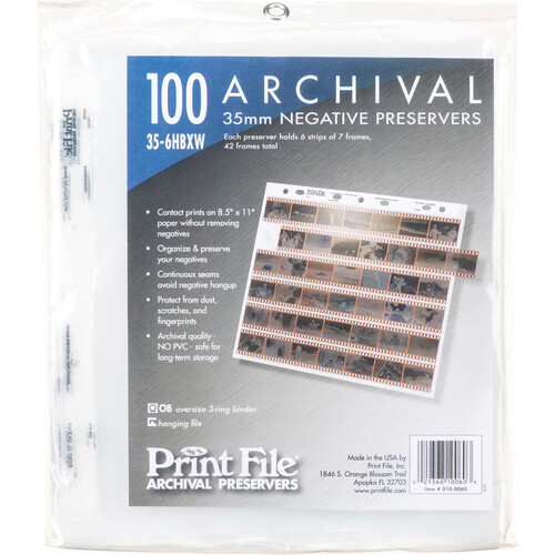 Print File Archival Storage Page for Negatives, 35mm (100-Pack)