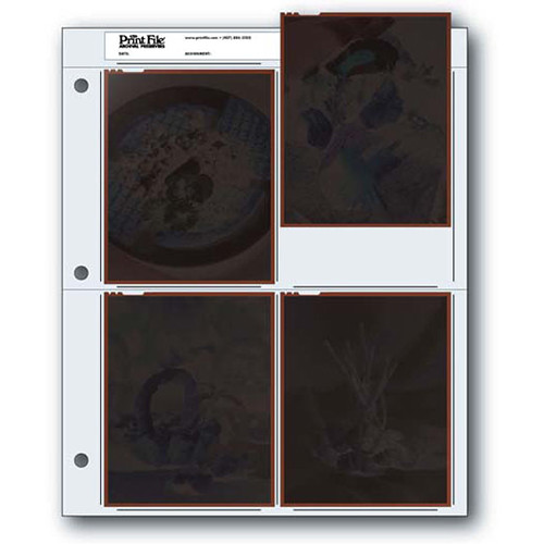 """Print File Archival Storage Page for Negatives, 4x5"""", Holds 4 Negatives or Transparencies (Binder Only) - 100 Pack"""
