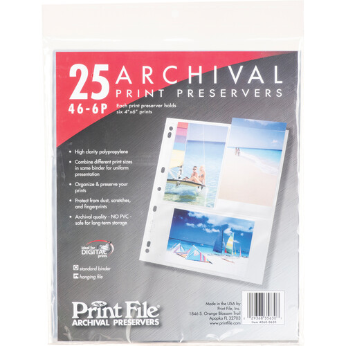 """Print File 46-6P Archival Storage Page for 6 Prints (4 x 6"""", 25-Pack)"""