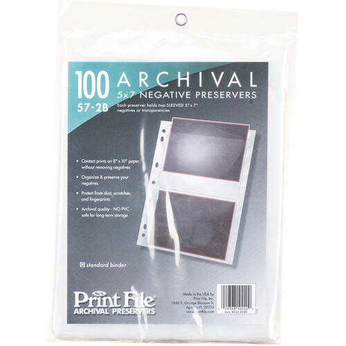 "Print File Archival Storage Page for Negatives, 5x7"", Holds 2 Negatives or Transparencies (Binder Only) - 100 Pack"