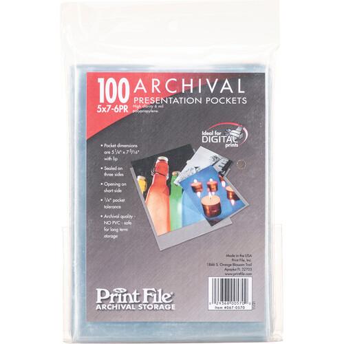 "Print File Polypropylene Presentation Pocket (5 x 7"", 100-Pack)"